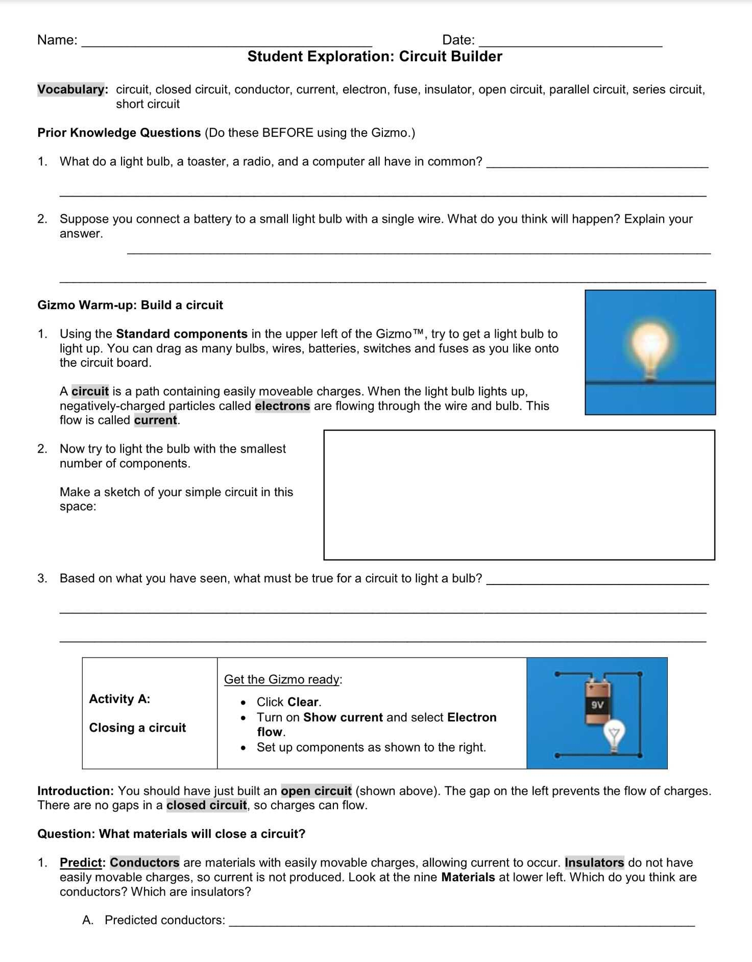 Redox Reaction Worksheet With Answers And Circuit Builder