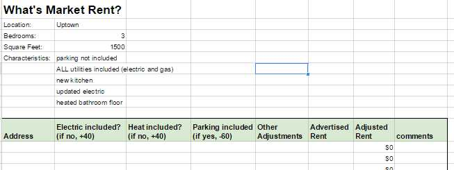 Rental Property Worksheet Along with How I Set Apartment Rents