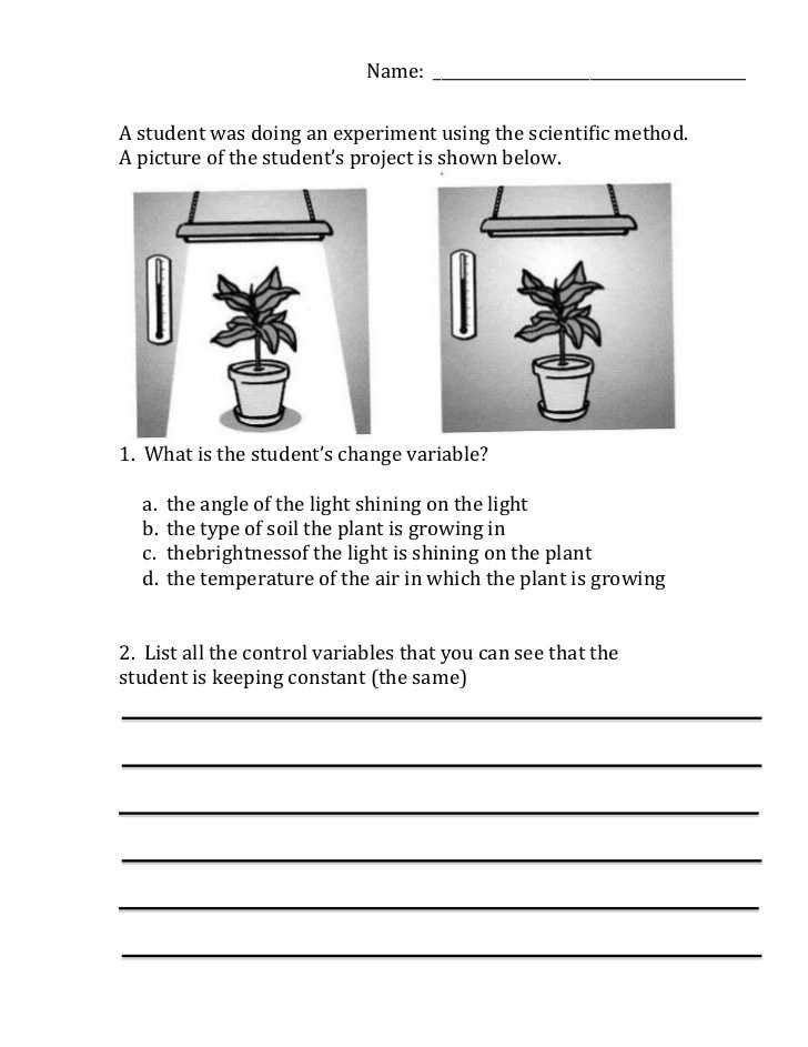 Scientific Method Worksheet 5th Grade or Scientific Method Variables Worksheet