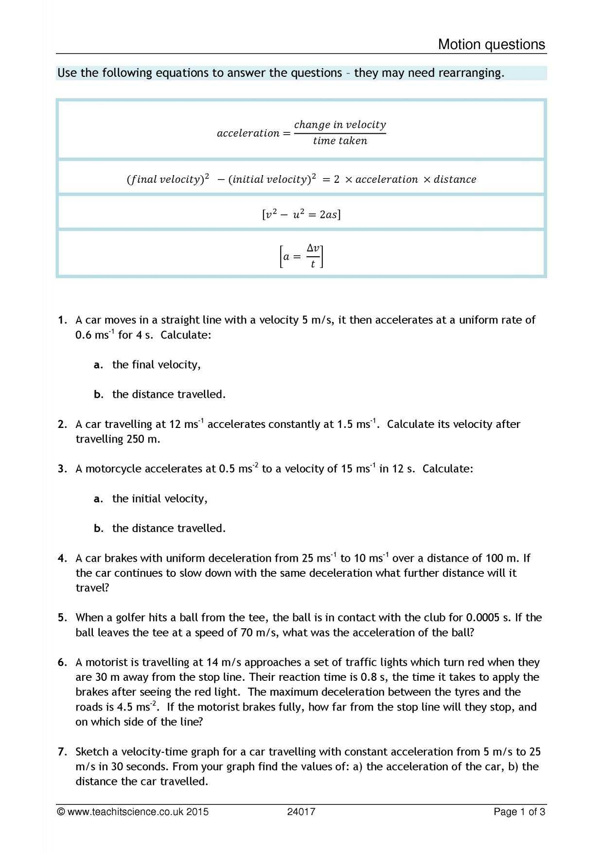 Speed and Velocity Worksheet Answer Key and Velocity and Acceleration Calculation Worksheet Answer Key
