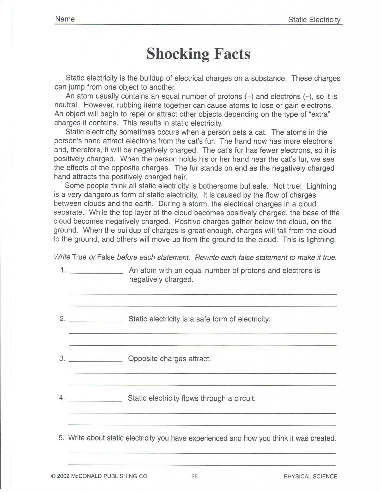 Speed and Velocity Worksheet Answer Key or Kids Science Packets for 5th Grade Physical Science Worksheets