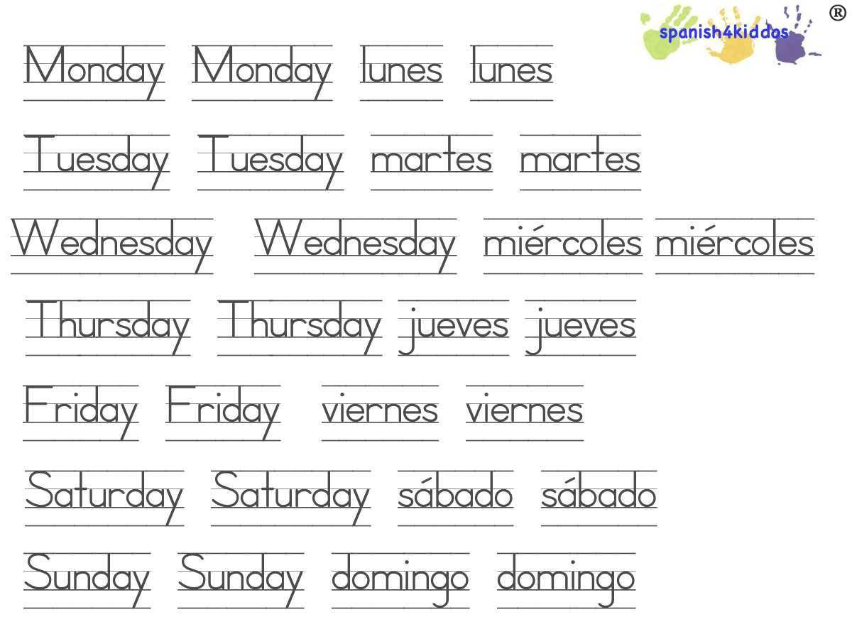Spelling Worksheets for Grade 1 Also Days Of the Week Printable – Spanish4kiddos Educational
