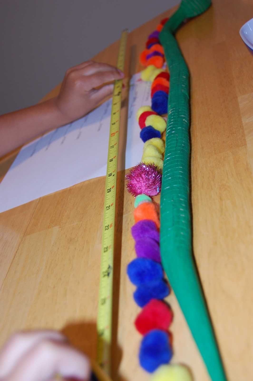 Tape Measure Worksheet and Temporary Waffle Measurements with Pom Poms