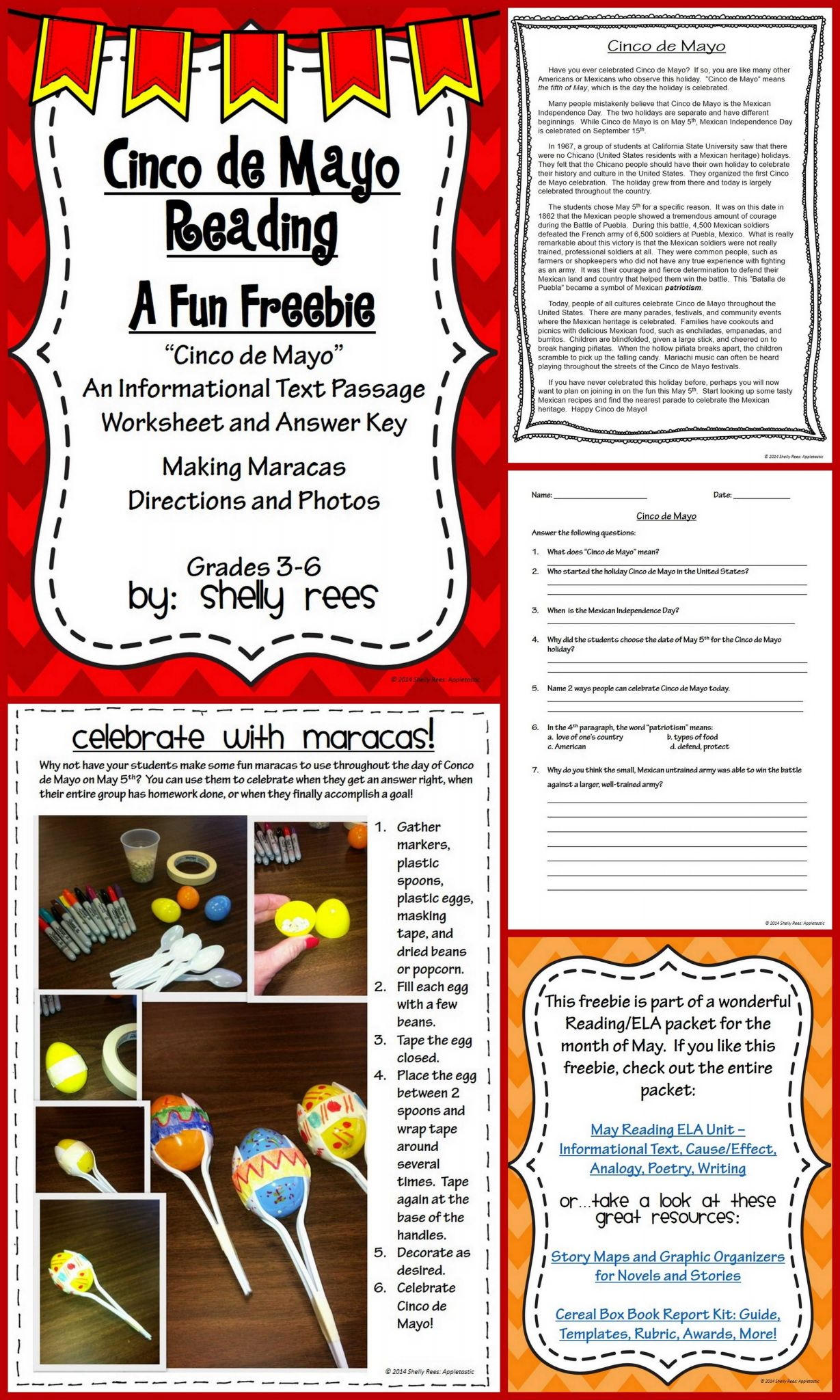 The History Of Life On Earth Worksheet Answers Along with Cinco De Mayo Free Informational Text Passage for Grades 3 6
