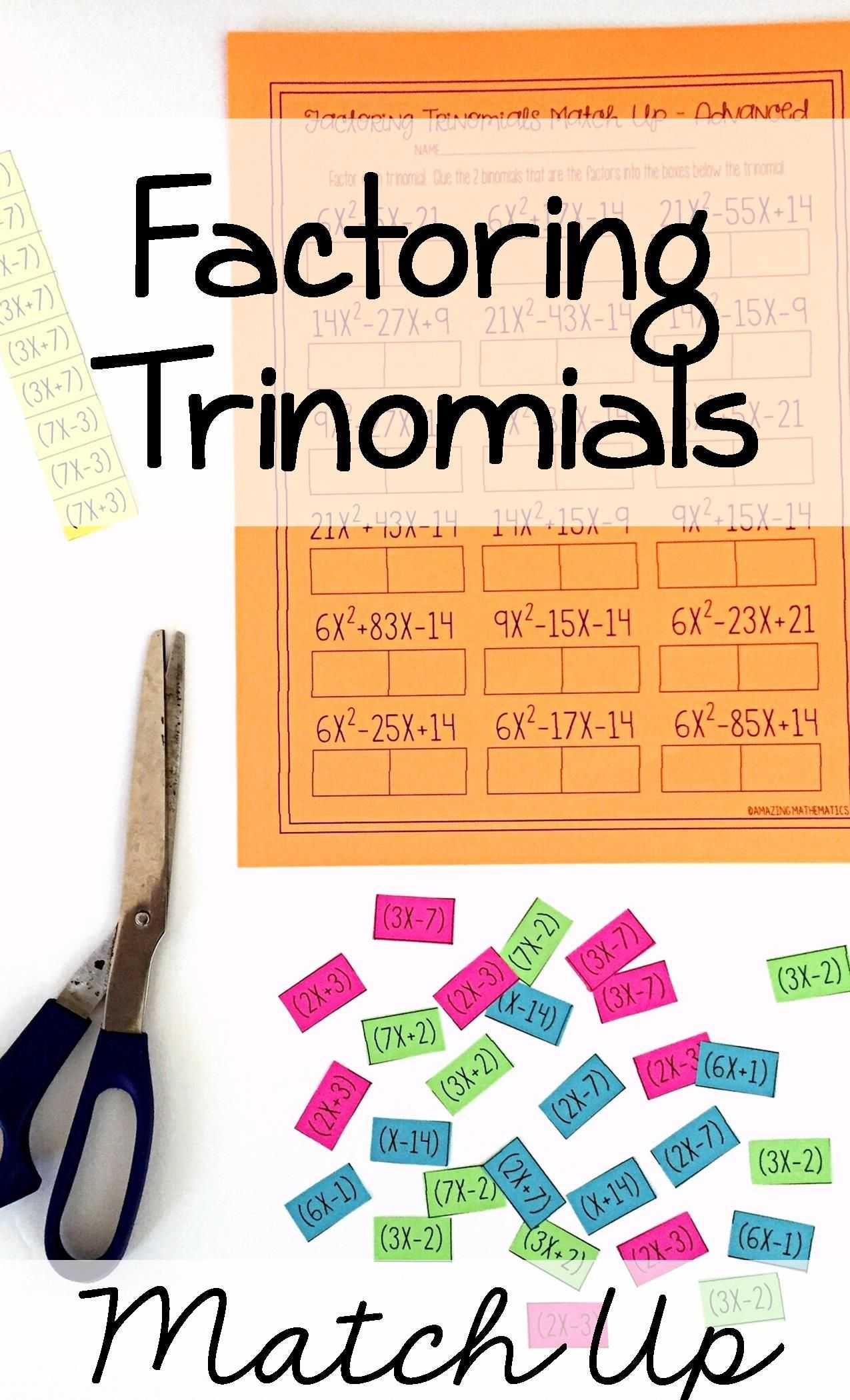 Transformation Practice Worksheet or Factoring Polynomials Activity Advanced Pinterest