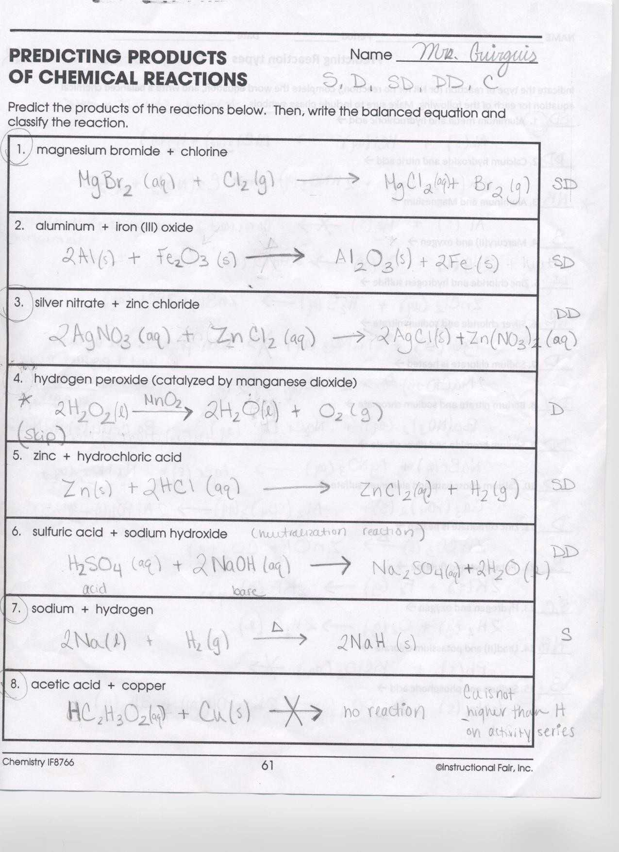 Types Of Chemical Reactions Worksheet Answers As Well As