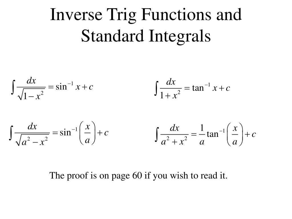 Worksheet 7.4 Inverse Functions Answers Along with Ppt Inverse Trig Functions and Standard Integrals Powerpoi
