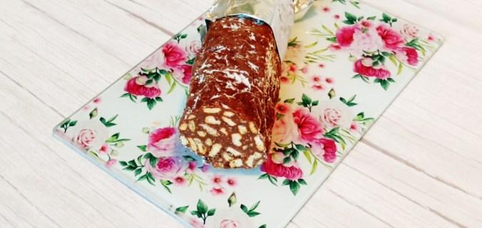 Salame dolce al cioccolato senza uova, riciclo uova di Pasqua 2