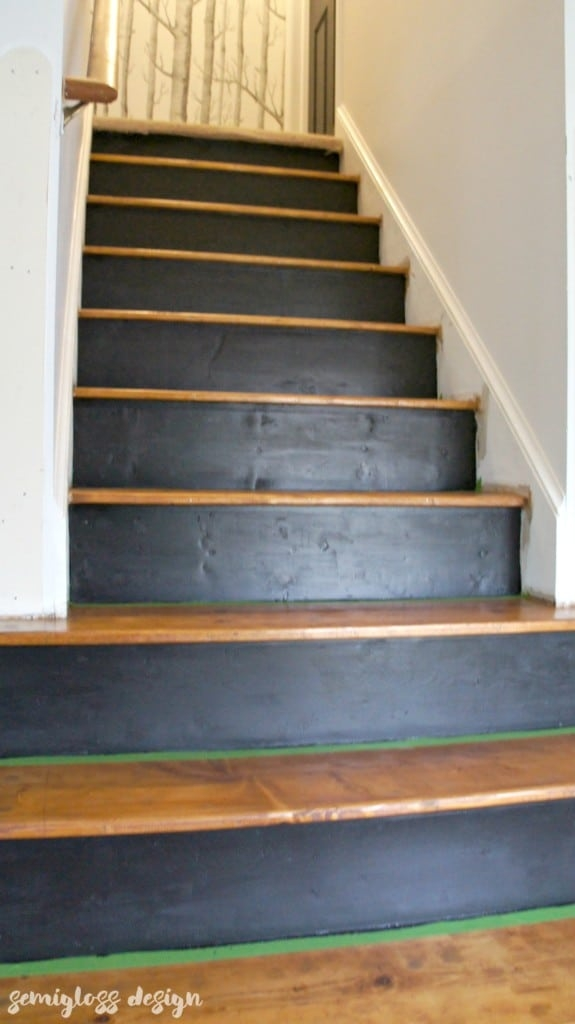 How To Paint And Stain Stairs For An Updated Look Semigloss Design | Cost Of Staining Stairs | Stair Railings | Hardwood | Stair Tread | Handrail | Basement Stairs