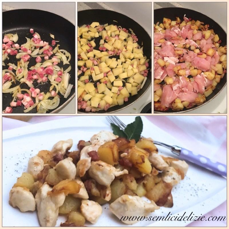 Bocconcini di pollo, pancetta e patate