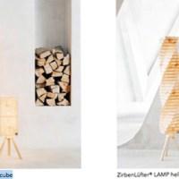 Lamp cube + Lamp helix - hochwertige Lampen von ZirbenLüfter® aus Zirbenholz