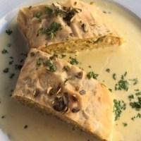 Grieß-Gemüsestrudel mit Sauce Bernaise