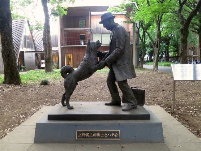 La statua di Hachiko felice, finalmente assieme al suo padrone