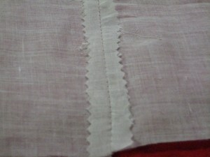 A Seam, finished by Pinking.