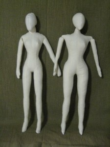 Cloth dolls, side by side