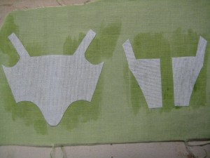 pieces of buckram adhered to cloth