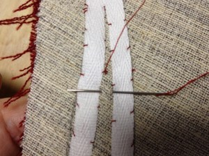 Completing the pad stitch.