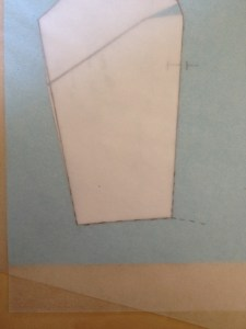 Move your tracing paper again, this time so that the bottom corner of the princess line fits the bottom of the side front.  Trace off the waist (bottom) and an inch (or so) of the side line.
