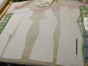 Cut around your pieces.  Leave about an inch of seam allowance, in case anything needs to be adjusted.