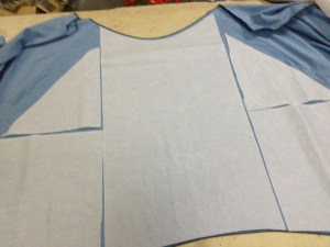 I prepped the target skirt with the miracle that is double sided fusible interfacing.