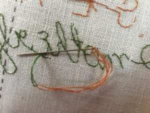 Beginning to whip through the backs of stitches.