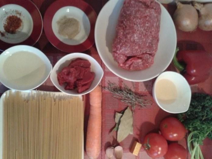 Ingrédients pour Pâtes Bolognaise