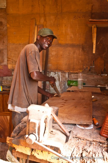 Carpenter working in his shop in N'Dar Tout quarter of Saint-Louis, Senegal. Photo by Marko Preslenkov.