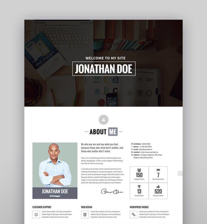 Identity theme wordpress portofolio online