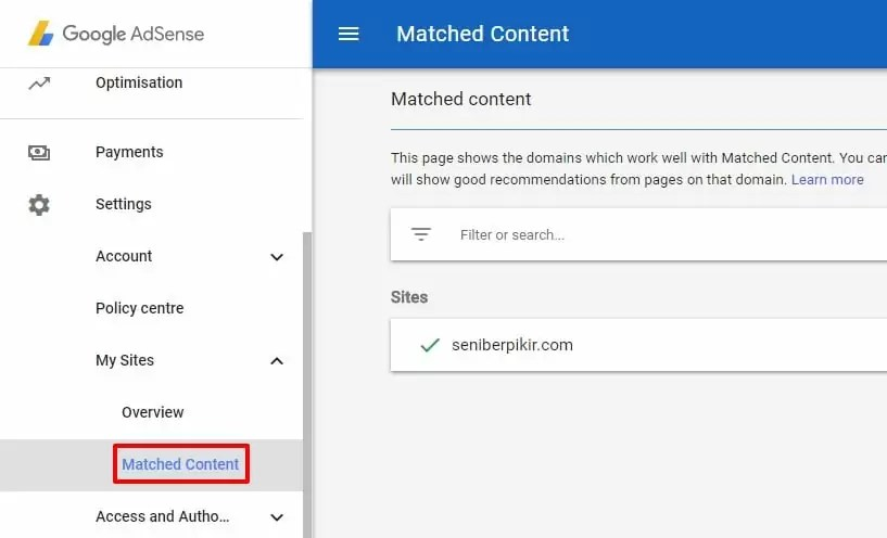 Matched Content Google Adsense - 2
