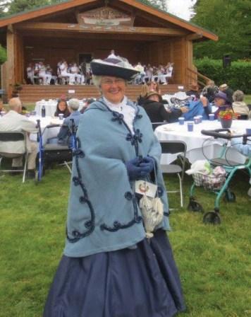 Elaine, dressed in costume.
