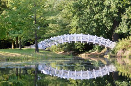 A bridge crosses one of the Wörlitz garden canals.