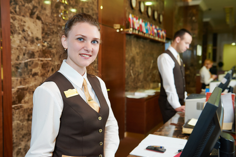 Hotel worker on reception
