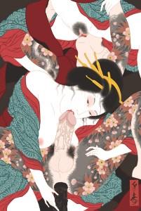 group sex, three way sex, fellatio, cock, pussy, irezumi, japanese tattoo, sakura, courtesan, kimono