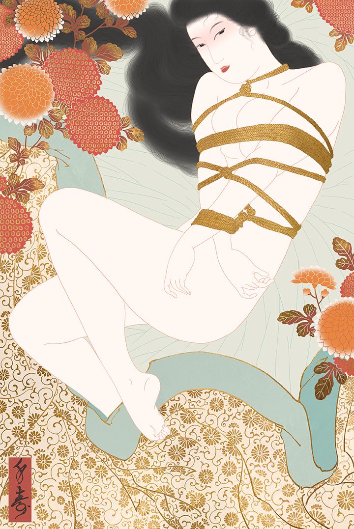 """Kikubari"" Shunga print"