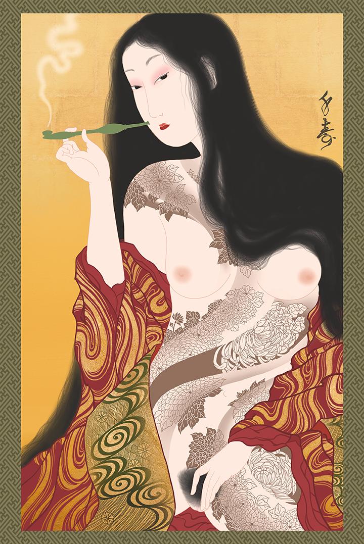 """""""Kikubatake"""" Shunga print"""