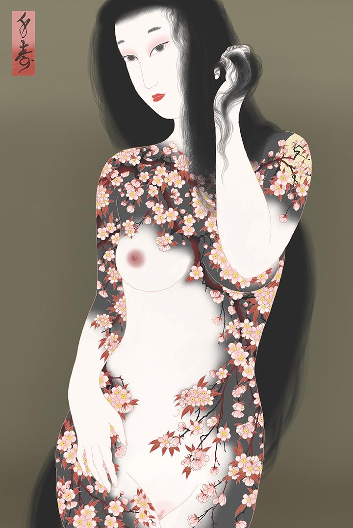 """Sakura"" Shunga print"