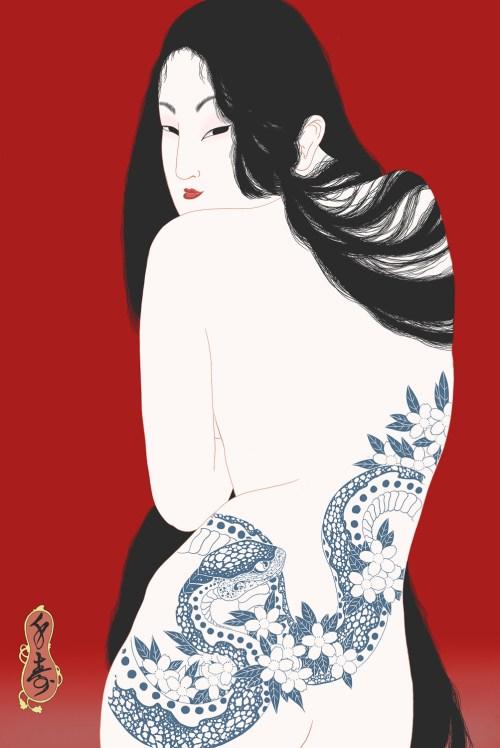 senju, horimatsu, shunga, erotic, erotica, japanese, japan, umeå, sweden, porn, pornography, kiyohime, nude, irezumi, japanese tattoo, snake tattoo, snake, sakura, cherry blossom