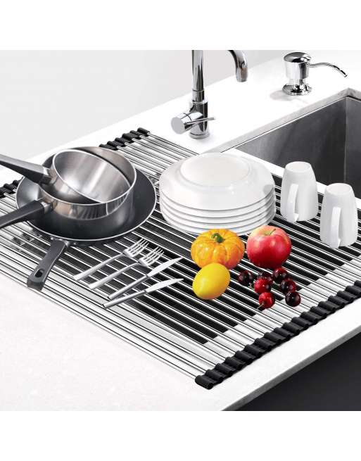 senjwarm over sink roll up large dish drainers rack multipurpose foldable kitchen sink rack mat stainless steel