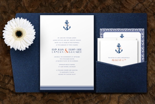Evening Wedding Invitation Nautical Themed Glitter Backed