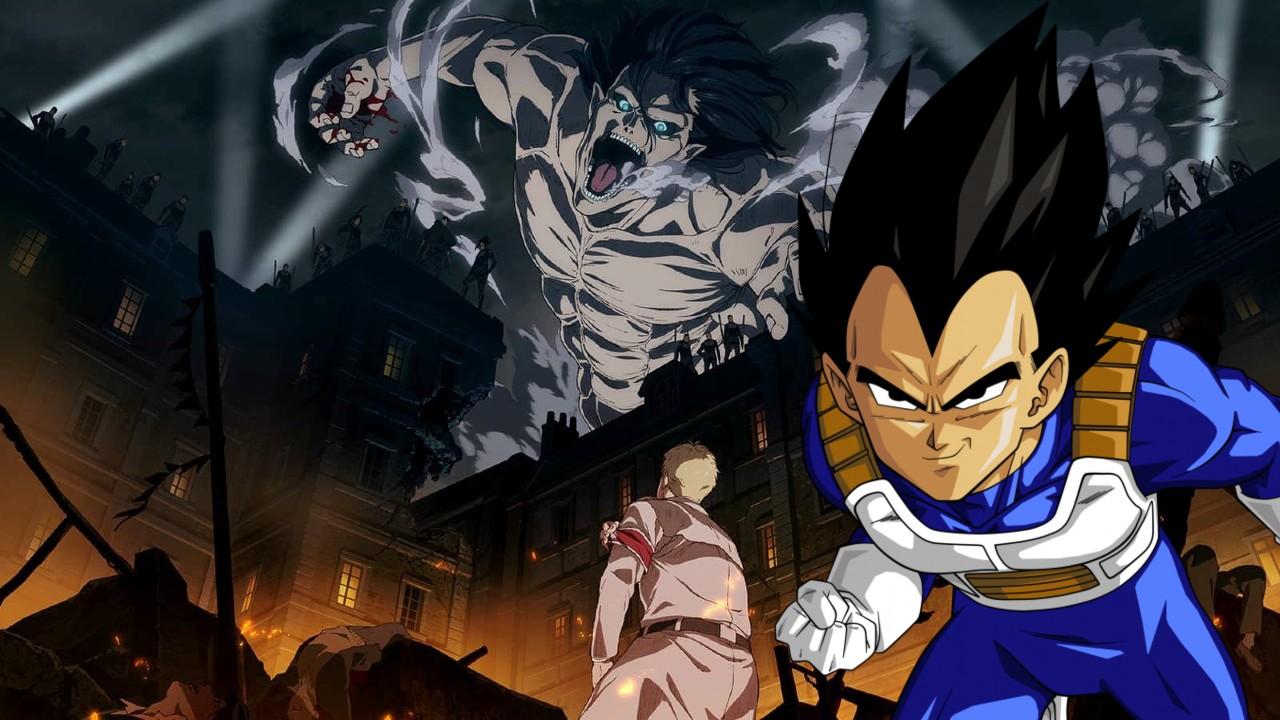 Attack on Titan Dragon Ball Eren Vegeta