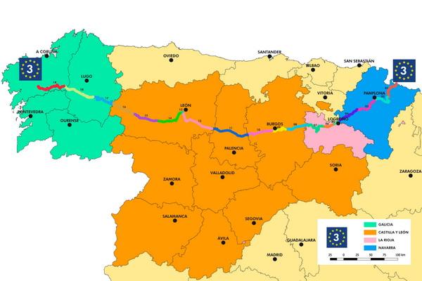 Partie espagnole de la route des pelerins, EuroVelo 3