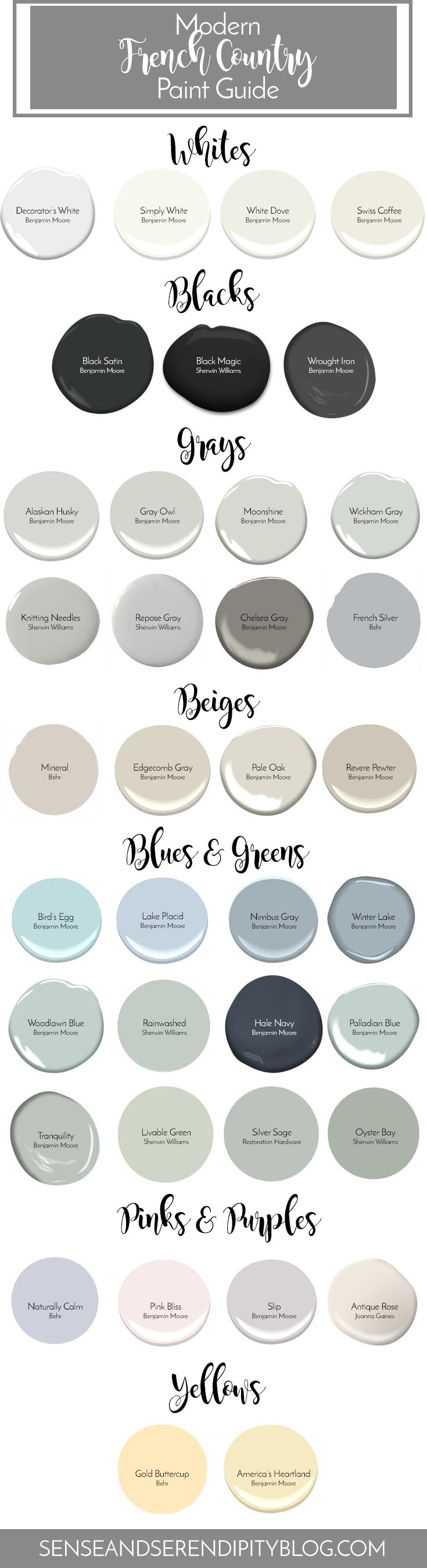 Modern French Country Paint Guide   Sense & Serendipity