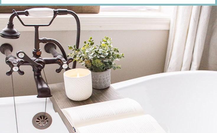 DIY Weathered Wood Bathtub Tray
