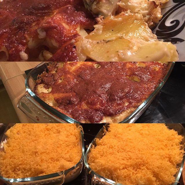 Kartoffel-Bratwurst-Auflauf mit Cheddar überbacken fürs Wochenende <a rel=