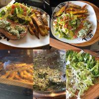 Schweinesteaks mit Kräuterbutter, Pommes und frischem Salat #foodporn #hellofresh - via Instagram