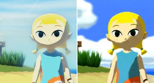 Jämförelse mellan HD-remaken och GameCube-originalet. Notera gräset t ex