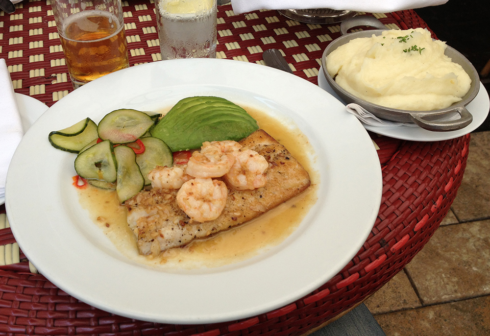 Bass and shrimp Chateau Marmont