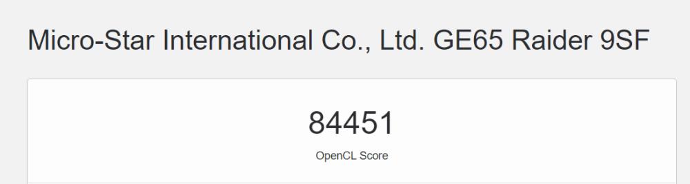 Geekbench 5 MSI ge65 OpenGL resultat