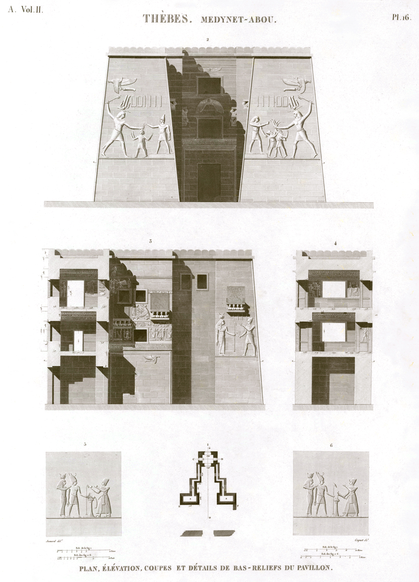 Pl.16 - Plan, elevation, sections and details of bas-reliefs of the pavilion