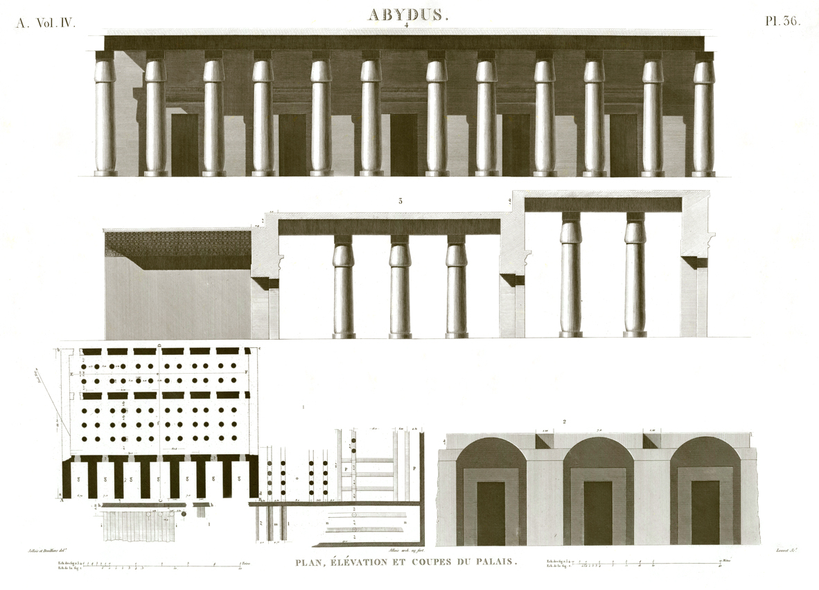 Pl. 36 - Plan, elevation and sections of the palace